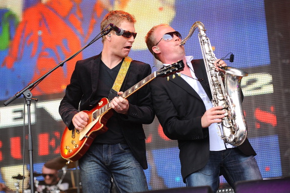 PERTH, SCOTLAND - JULY 28:  Nathan King and Sean Freeman of Level 42 perform on stage on Day 3 of Rewind 80s Festival 2013 at Scone Palace on July 28, 2013 in Perth, Scotland.  (Photo by Scott Campbell/Redferns via Getty Images)